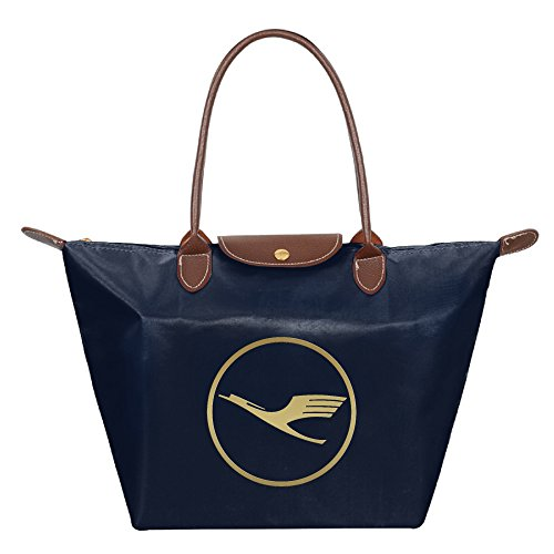 womens-waterproof-nylon-foldable-large-tote-bag-golden-lufthansa-logo-shopping-shoulder-handbags-nav