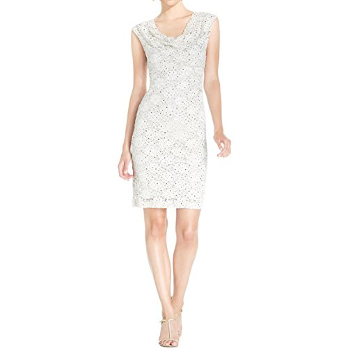 Connected Apparel Women's Cap Sleeve Sequin Lace Cowl Neck Dress, Champagne, 6]()