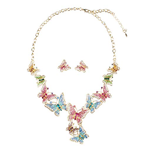 ENUUNO Costume Jewelry Butterfly Painting Crystal Choker Pendant Statement Chain Charm Necklace and Earrings Sets Women (Multi-Color, Alloy)