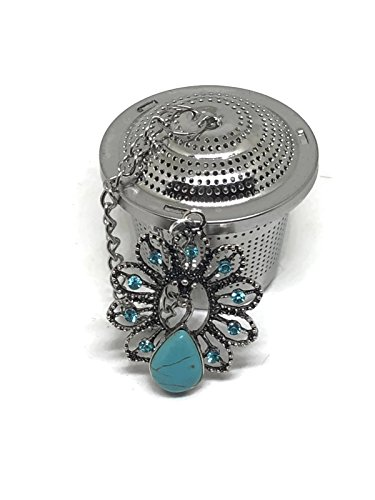 Austrian Crystal Stones - Tea Infuser Ball with Natural Stone Blue Turquoise Peacock and Austrian Crystals Weight Handmade