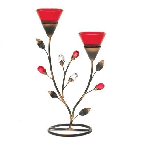 Home Locomotion Ruby Blooms Candleholder