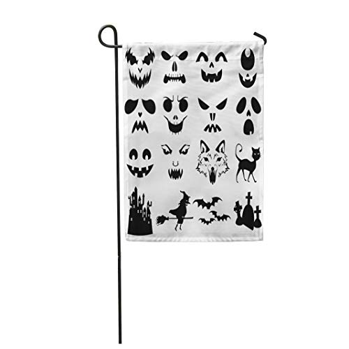 Tarolo Decoration Flag Face of Halloween Pumpkins Carved Silhouettes Stencil Cat Creepy Bats Black Thick Fabric Double Sided Home Garden Flag 12