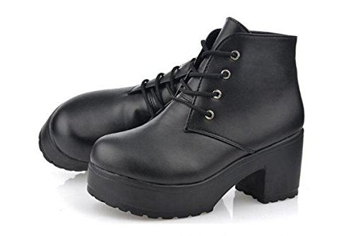 Scarpe YCMDM New Spring singole PU artificiale Women Shoes tacco alto scarpe impermeabili , black , 40