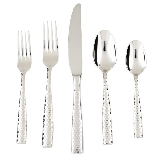 Fine Stainless Flatware Place (Fortessa Lucca Faceted 18/10 Stainless Steel Flatware, 5 Piece Place Setting, Service for 1)