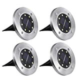 Solar Lights, ComLeds LED Ground Lights Waterproof Landscape Spotlight Security Lightening Dark Sensing Auto On/Off for Outdoor Driveway Patio Deck(4 Packs)