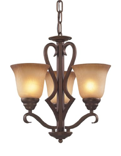 Elk 9326/3 3-Light Chandelier In Mocha and Antique Amber Glass