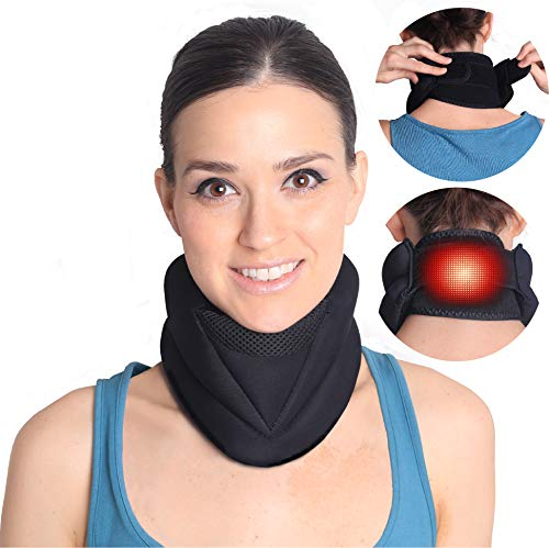 Magnetic Electric Heating Neck Brace for Neck Pain and Support- Cervical Collar Traction Device-Neck Warmer for Stiff Neck- 3 in 1 Support that Relieves Pain, Stress, Anxiety and Headache. (Best Cure For Stiff Neck)
