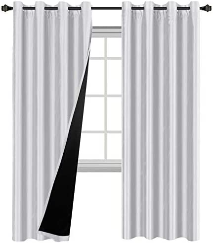 H.VERSAILTEX Greyish White Blackout Curtains 2 Layers - Elegant Rich Faux Silk Complete Blackout Draperies with Black Liner Super Thick Insulated Window Curtains Set of 2, 52 x 84 Inch