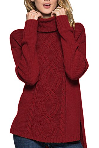 Sovoyontee Women Long Sleeve Knit Sweaters Ruby Large 12 ()