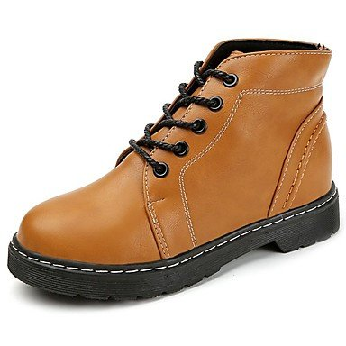 Black Combat Heel UK4 For US6 Pu Up CN36 Brown Toe Light Winter Fall Boots RTRY Low Boots Lace EU36 Boots Mid Shoes Casual Round Calf Women'S SzwnX1