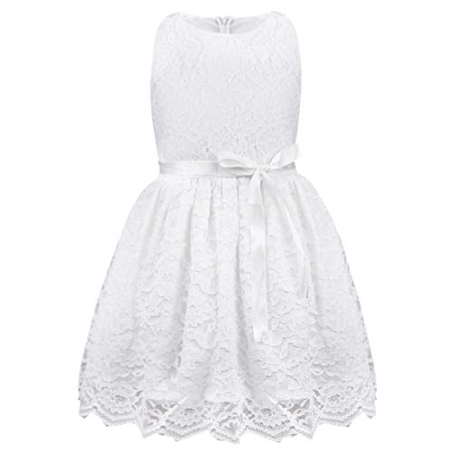 (TiaoBug Girls Sleeveless Bow Belt Lace Princess Wedding Pageant Flower Party Dress White 3T)