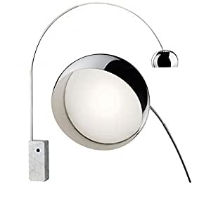 Flos Arco 18W LED Stainless Steel Marble Floor Lamp Made in Italy