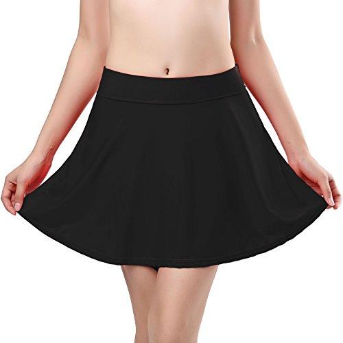 (SHEKINI Women's Skirted Bikini Built-in Bottom High Waist Swim Skirt Swimdress Swimsuit (Medium/(US 8-10), Manhattan Black))