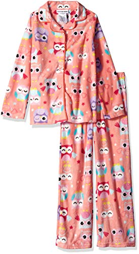 Komar Kids Girls' Big Button Down Microfleece Pajama Set, Coral owl, Extra Large]()