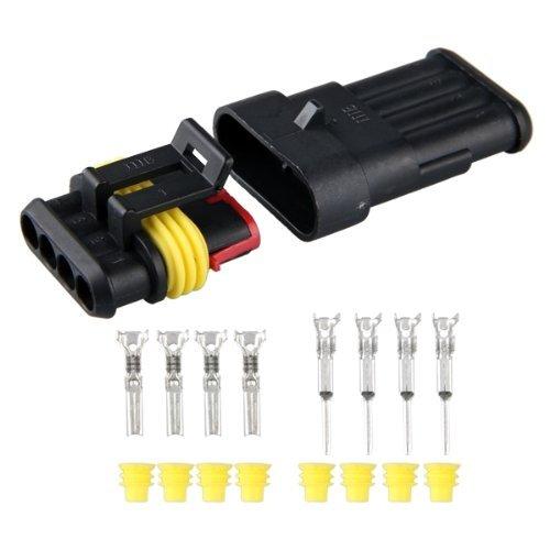 Sonline 10 kit CONNECTEUR PRISE IMPERMEABLE ETANCHE 4 PIN CANAUX POUR AUTO MOTO BATEAU