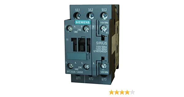 25 AMP contactor rated 7.5 H.P @ 230v // 15 H.P Siemens 3RT2026-1AK60 3 pole 110//120vAC coil and 1 N.O.//1 N.C @ 460 volt 3 Phase base mounted auxiliary contacts