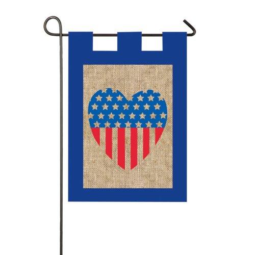 Evergreen Enterprises Burlap Patriotic Heart Garden Flag