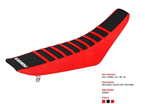 Enjoy MFG Ribbed Seat Cover for Honda CRF 110 - Red Sides / Black Top / Red Ribs