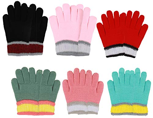 Magic Childrens Gloves (Gilbin Soft and Comfortable Fleece Linend Children's Winter Magic Knit Gloves (4-7, Colorful))