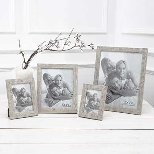 Boichen 4 Pack 8x10 Picture Frame Wood Pattern High Definition Glass Rustic Photo Frame Tabletop or Wall,Wave Woodgrain Photo Frames by Boichen (Image #6)
