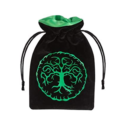 Q WORKSHOP Forest Black & Green Velour Dice Bag