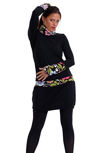 c7feca8e7157 Winter Dress Turtleneck Fleece   Sweatshirt Long Sleeve Dresses woman black  - handmade in Berlin by