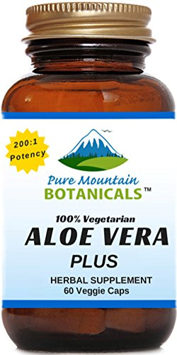 Aloe Vera Plus Capsules. 200:1 Extract. Kosher Organic Dried Aloe Vera Gel, Marshmallow Root, Slippery - Gel Capsules Aloe Vera