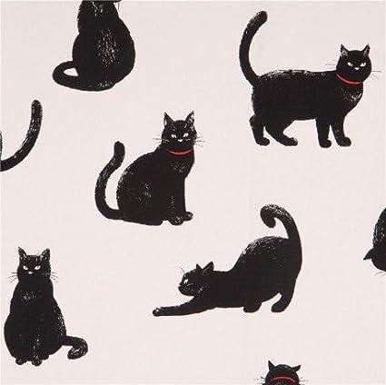 Tela lona blanca de animales con gatos negros de Cosmo Japón ...