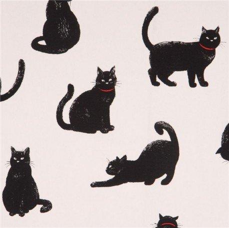 Tela lona blanca de animales con gatos negros de Cosmo Japón: Amazon.es: Hogar