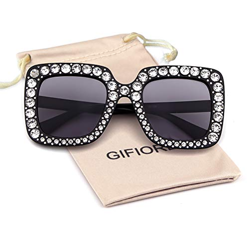 Sparkle Shades - GIFIORE Oversize Square Crystal Sunglasses Women Luxury Shades Sunglasses