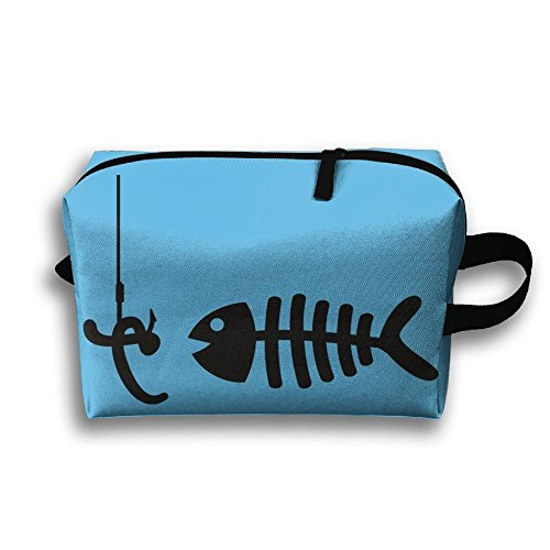 - Travel Jewelry Bags Black Fish Bones And Clams For Womens Zipper Cosmetic Case