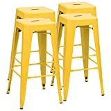 Furmax 30 Inches Metal Bar Stools High Backless Stools Indoor-Outdoor Stackable Kitchen Stools Set of 4