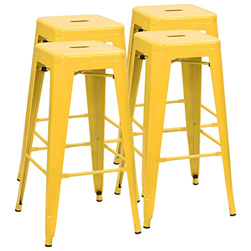 Tremendous Furmax 30 Inches Metal Bar Stools High Backless Stools Indoor Outdoor Stackable Kitchen Stools Set Of 4 Deep Yellow Ibusinesslaw Wood Chair Design Ideas Ibusinesslaworg