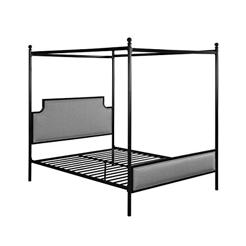 Great Deal Furniture ASA Queen Size Iron Canopy Bed Frame with Upholstered Studded Headboard Gray and Flat Black
