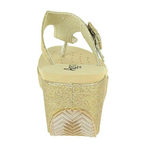 Mujer Señoras Toe Post Ajustable Talle grande Cada día Casual Comfort Ponerse Tacón de cuña Sandalias Zapatos Tamaño Oro