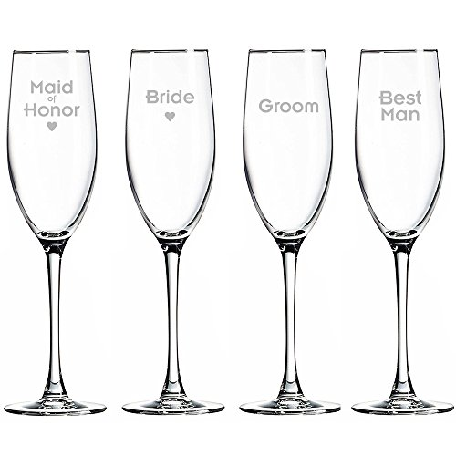 Best Man Maid Of Honor - Bride - Maid of Honor - Groom and Best man Champagne Toasting Flute Glasses, Set of 4