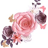 Fonder Mols 3D Paper Flowers Decorations for Wall (Pink Gray, Set of 6) for Girl Baby Shower Flowers Decorations, Girl…