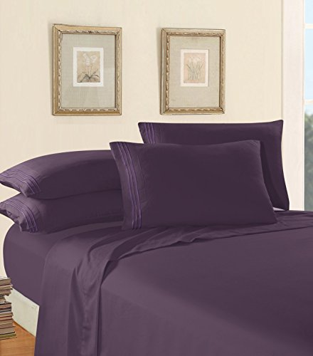 Luxury Bed Sheet Set on Amazon! Elegant Comfort Three-Line Design 1500 Thread Count Egyptian Quality Wrinkle and Fade Resistant 4-Piece Bed Sheet set, Deep Pocket, King, Purple
