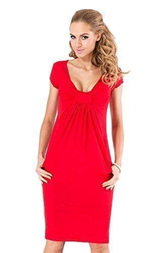 Devant V Col 8 Profond Longueur 18 Cocktail Courte FM05 Noeud Genou Femmes UK Rouge Manche sur Le FUTURO Taille Robe Mode FASHION lgant 7vPzzq