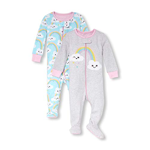 The Children's Place Baby Girls 2 Pack Novelty Printed Long Sleeve Footed Sleepers, Grey/Blue Cloud, 9-12MOS ()