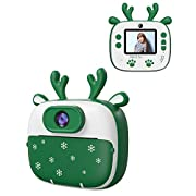 Dragon Touch Instant Camera For Kids, 2 inch 1080P Digital Print Camera with 5 Rolls Print Paper, Dual Camera Lens…
