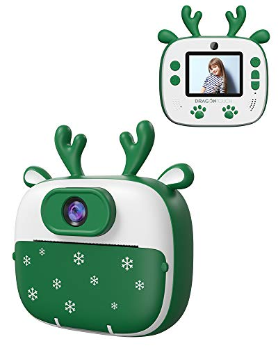 Dragon Touch Instant Print Kids Camera, InstantFun2 Digital Print Camera for Kids with Dual Camera Lens, Print Paper…