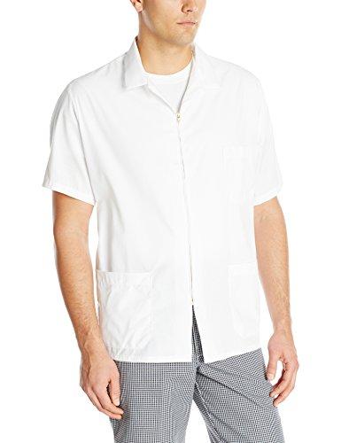 Red Kap Men's Zip-front Smock, White, Short Sleeve Medium