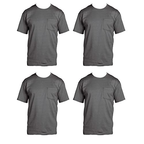 Cheap Fruit of the Loom Men's 4-Pack Pocket Crew-Neck T-Shirt - Colors May Vary