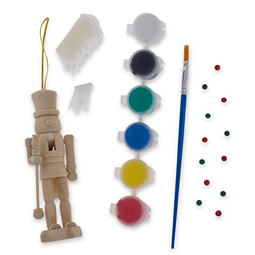 BestPysanky Unfinished Wooden Nutcracker with Paint and Fur Craft Kit 5 Inches ()