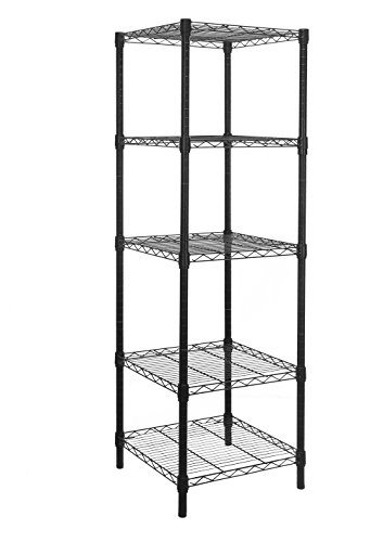 (HollyHOME 5 Shelves Adjustable Steel Wire Shelving Rack in Small Space or Room Corner, Metal Heavy Duty Storage Shelf, Utility Rack, Bathroom Storage Tower Kitchen Shelving, Thicken Tube, Black)