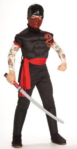 [Brotherhood of the Dragon Child's Muscle Chest Ninja Warrior Costume, Medium] (Muscle Ninja Warrior Costume)