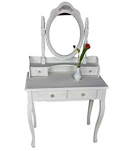 Secreter tocador Blanco Beige Rose Espejo rústico mesa de madera shabby