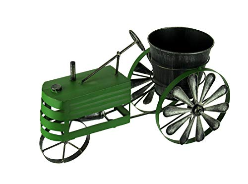 - Weathered Green Finish Metal Farm Tractor Planter Pot