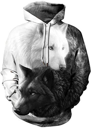 Pandolah Men's Fashion Novelty Sweatshirts Animal 3D Printed Hoodies
